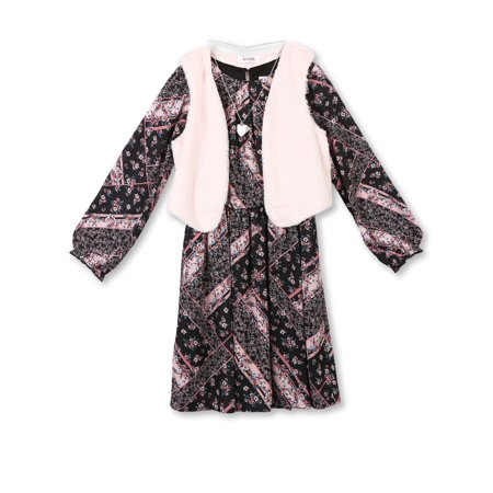 Lots of Love by Speechless Patchwork Chiffon Dress and Fur Vest, 2-Piece Set with Necklace (Big Girls) - Girls Dresses Winter