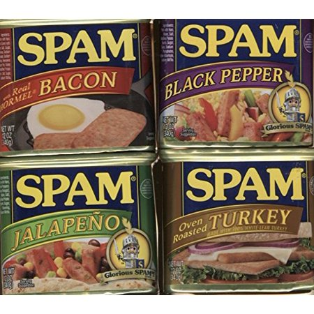 Spam Bundle of Four Flavors - Turkey, Bacon, Black Pepper, and (Grilled Stuffed Jalapeno Peppers Wrapped In Bacon)