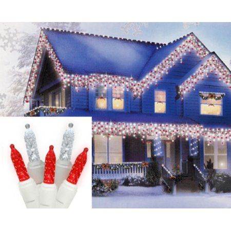 Set Of 70 Red And Cool White Led M5 Icicle Christmas Lights White Wire