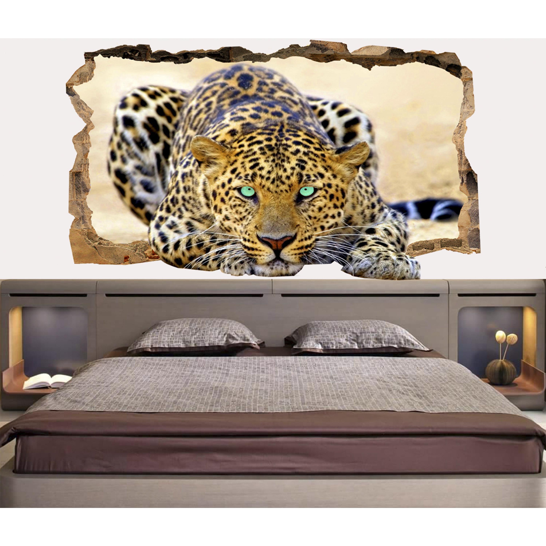Startonight 3D Mural Wall Art Photo Decor Blue Eyes Leopard Amazing
