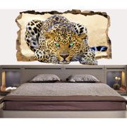 Startonight 3D Mural Wall Art Photo Decor Blue Eyes Leopard Amazing Dual View Wall Mural Wallpaper for Bedroom Animals Wall Paper Art Gift Large 47.24 '' By 86.61 ''