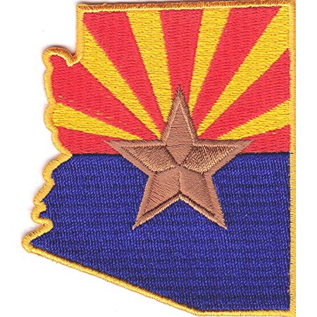 "Arizona State map 3.5"" x 2.5"" logo Embroidered Iron On Applique Patch"