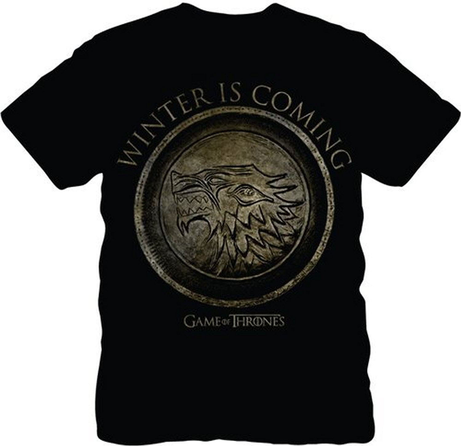 The Game of Thrones Stark Seal Winter Is Coming Adult Black T-Shirt