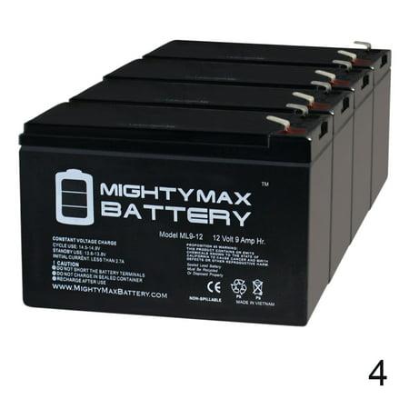 12V 9Ah Battery Replacement for Tennis Tutor Jr Ball Machine - 4 Pack Best Tennis Ball Machine