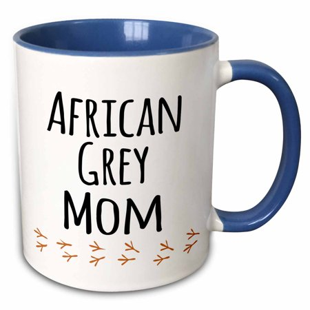 3dRose African Grey Parrot Mom - bird lover exotic pet owner - for her - text with bird footprints - Two Tone Blue Mug, 11-ounce ()