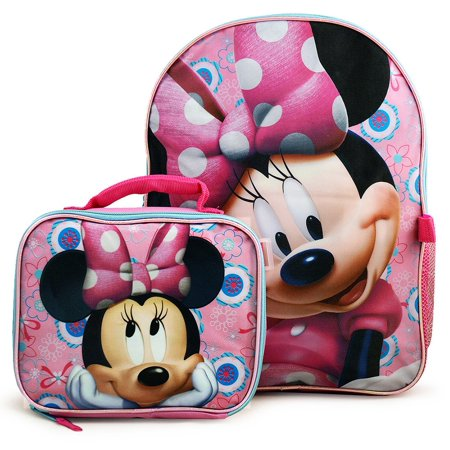 5e44818b8bd Disney - Disney Minnie Mouse Deluxe Bow-Tique Backpack and Lunch Bag Set -  Walmart.com