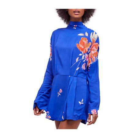 Free People Blue Long-Sleeve Gemma Printed Mock-Turtleneck A-Line Mini Dress L ()