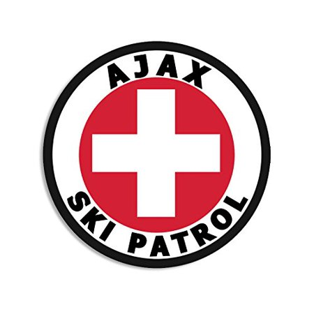 Round AJAX SKI PATROL Sticker (co aspen snowmass snow)