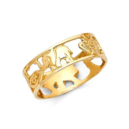 Good Luck Symbols Ring Solid 14k Yellow Gold Lucky Charm Band Open Design Polished Genuine (Good Luck Money Ring)