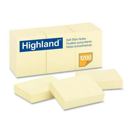 - 3M 6539RP 1.37 x 1.87 in. Recycled Self-Stick Notes, Yellow - 100 Sheets per Pad, 12 Pads per Pack