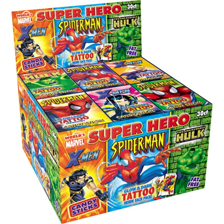 Marvel Super Hero Candy Sticks with Tattoo: 30 Count