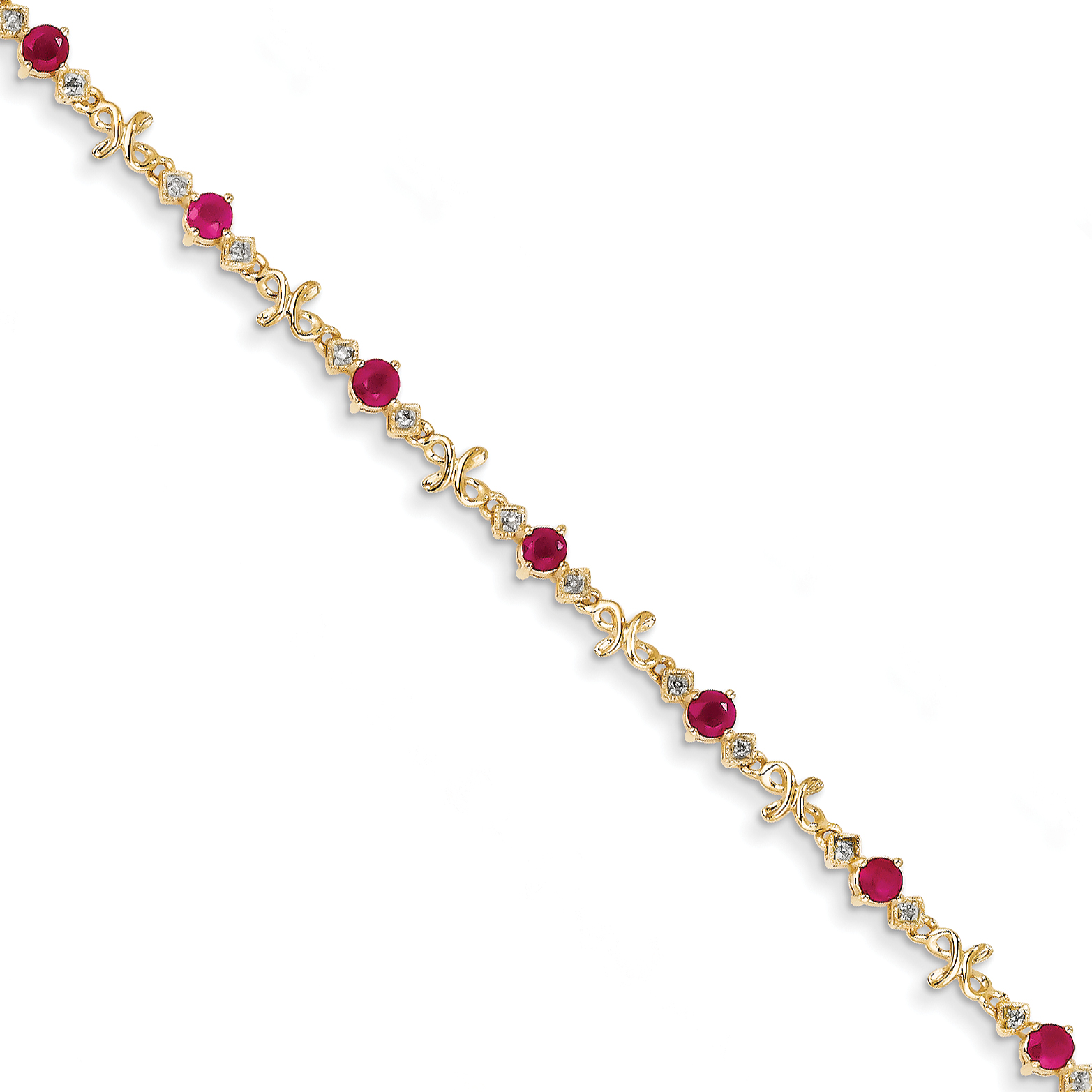 14k Diamond and Ruby Bracelet by Saris and Things QG