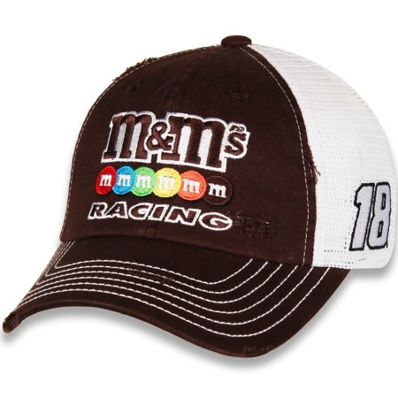 Men's Checkered Flag Brown/White Kyle Busch M&M'S Racing Adjustable Snapback Hat - OSFA (Anheuser Busch Hat)