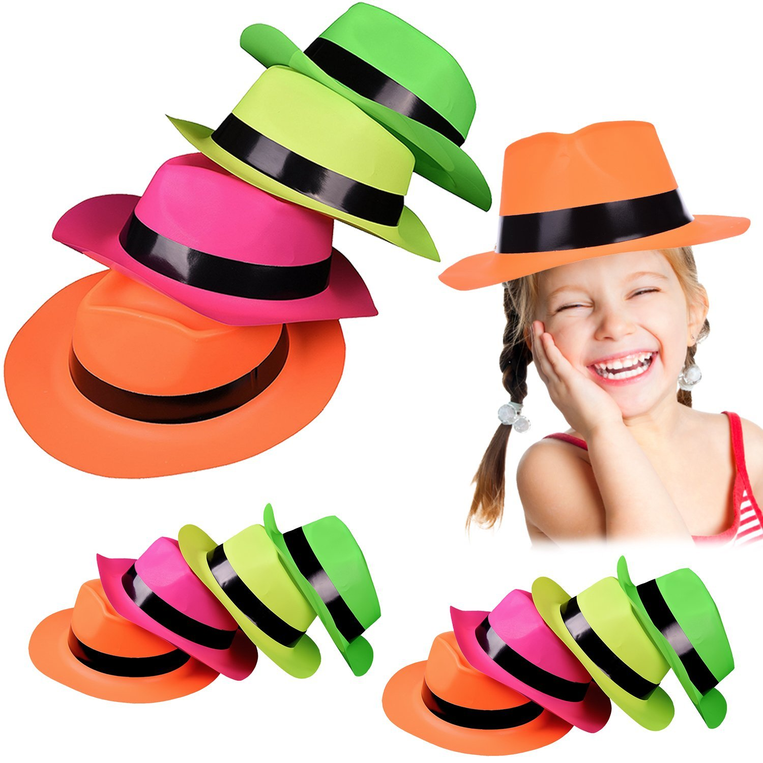 Original Gangster Hats - Cool Plastic Neon Gangster's Hats 24 Pack for Kids and Adults BBQ's | Birthdays | Concerts - Trendy Rave Hats  F-143