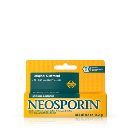 Neosporin Original First Aid Antibiotic Ointment with Bacitracin, Zinc For 24-hour Infection Protection, Wound Care Treatment and the Scar appearance minimizer for Minor Cuts, Scrapes and Burns,.5 oz Open Wound Treatment