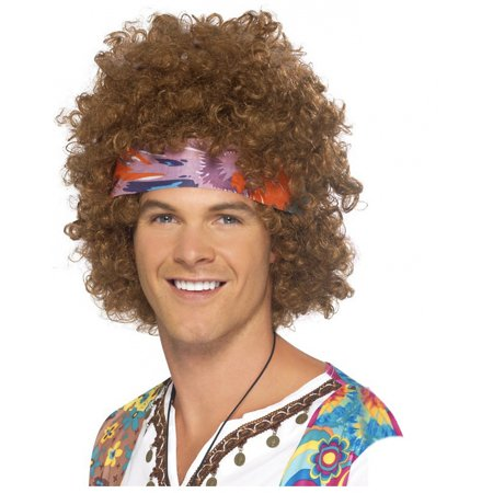Hippy Afro Wig Adult Costume Accessory - Brown Afro