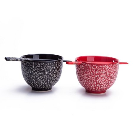 2 Rice / Soup / Noodle Bowls & 2 Paris Of Chopsticks Dinnerware Set Red & Bla...
