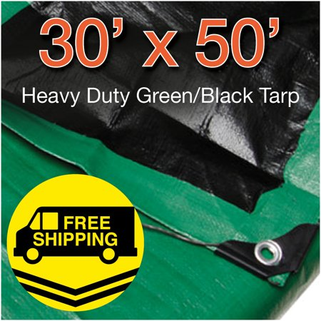 Heavy Duty Green Poly Tarp (30' x 50' Heavy Duty Green/ Black Poly Tarp Water Proof Cover Tent RV Tarpaulin)