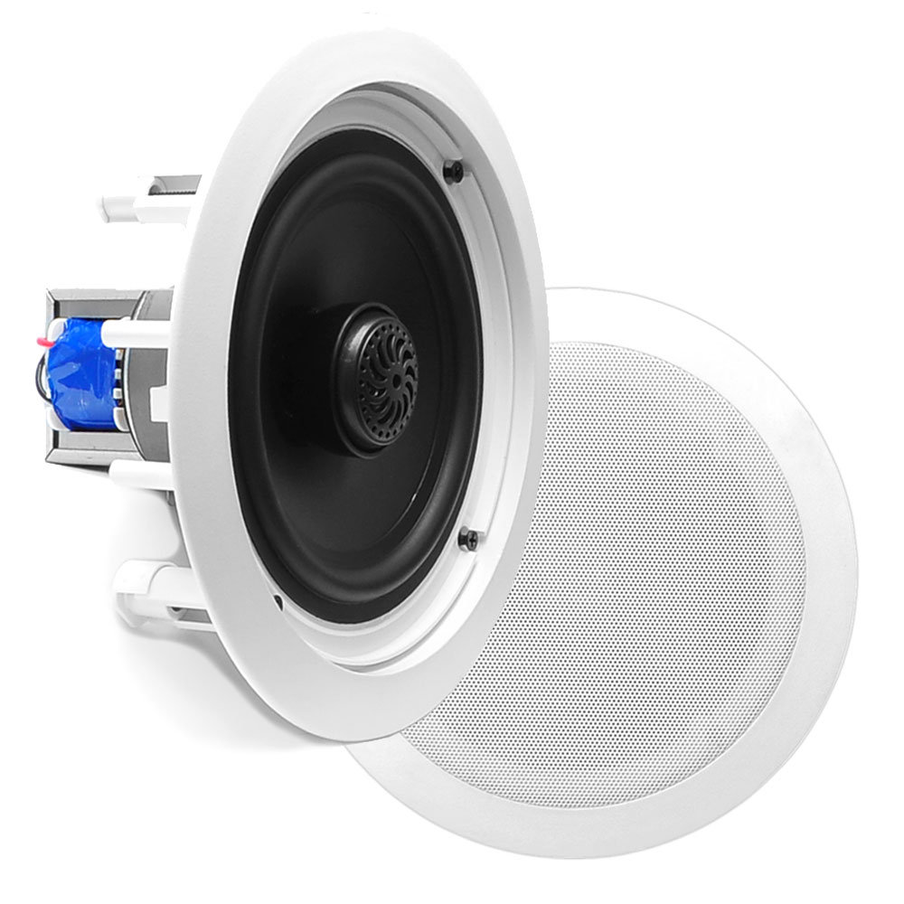 PYLE PDIC60T - In-Wall / In-Ceiling Dual 6.5-inch Speaker System, 70V Transformer, 2-Way, Flush Mount, White