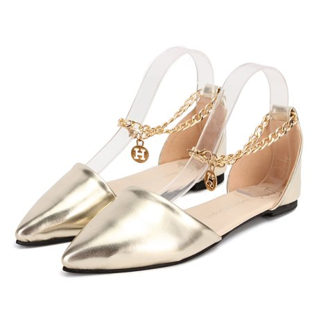 Sexy Womens Pointed Toe Ballet Flat Ankle Metal Chain Loafer Casual Pumps Shoes Wedding Partywear Strap Outdoor Sandals - Patent Ankle Strap Pump