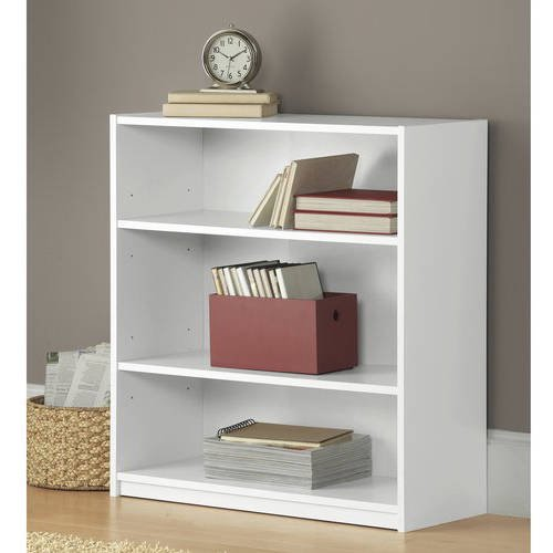Mainstays 3-Shelf Wood Bookcase, Multiple Colors