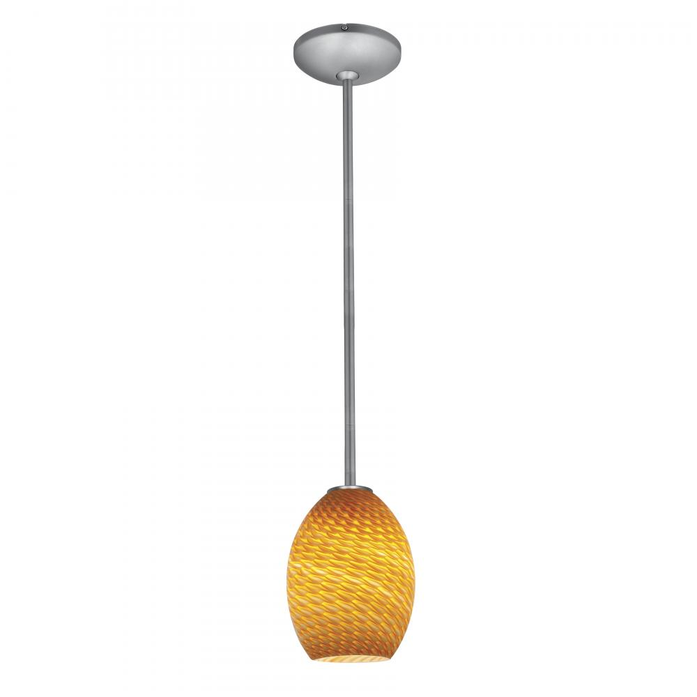 Access Lighting 28023-1R-BS AMBFB Janine 1 Light Brushed Steel Downrod Pendant, Brushed Steel   Amber by Access