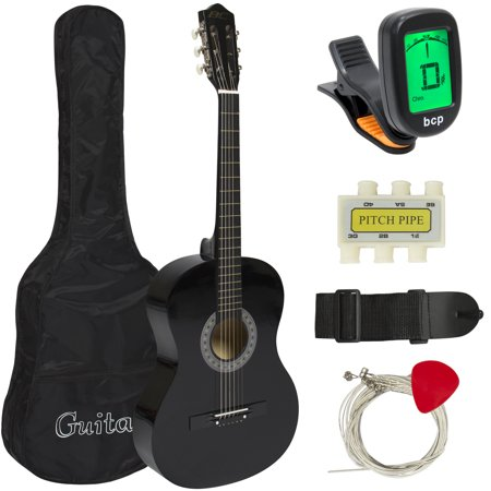 Black Folk Guitar Set - Best Choice Products 38in Beginner Acoustic Guitar Starter Kit w/ Case, Strap, Digital E-Tuner, Pick, Pitch Pipe, Strings - Black