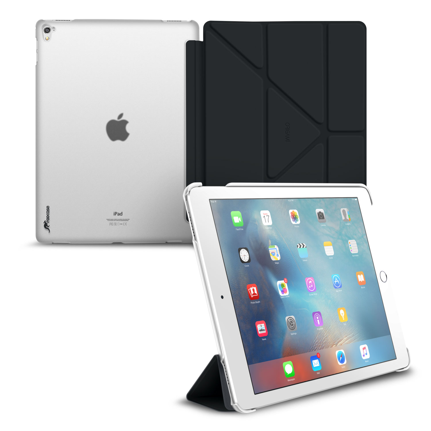 iPad Pro 9.7 Case, Apple Folio roocase Origami Slim Shell Frost Back Case Smart Cover with Auto Sleep/Wake Feature for