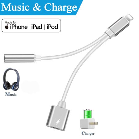 big sale e1f95 0e944 Headphone Adapter for iPhone 8, 3.5mm Splitter Jack Dongle Earphone Cable  Charge and Aux Audio Connector for iPhone X/Xs/XS max/8/8 Plus/7/7 Plus, ...
