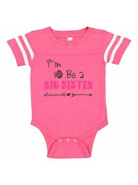 "Adorable Sister Baseball Bodysuit Raglan ""I'm Going To Be A Big Sister"" Cute Big Sister Newborn Shirt Gift - Baby Tee, 6-12 months, Pink & White Short Sleeve"
