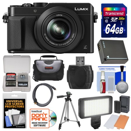 Panasonic Lumix DMC-LX100 4K Wi-Fi Digital Camera (Black) with 64GB Card + Case + Video Light & Flash Set + Battery + Tripod + Kit