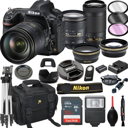 Nikon D850 DSLR Camera with 24-120mm VR  and 70-300mm VR Lenses + 32GB Card, Tripod, Flash, and More (21pc