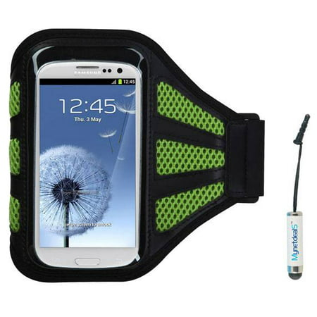 (Premium Sport Armband Case for  iPhone 5S, iPhone 5C, iPhone 5, iPod touch (5th generation), iPhone 4S/4, iPod touch (4th generation), - Black/ Green (with Green Mess Ports)+ Mini Smart Phone Touch Sc)