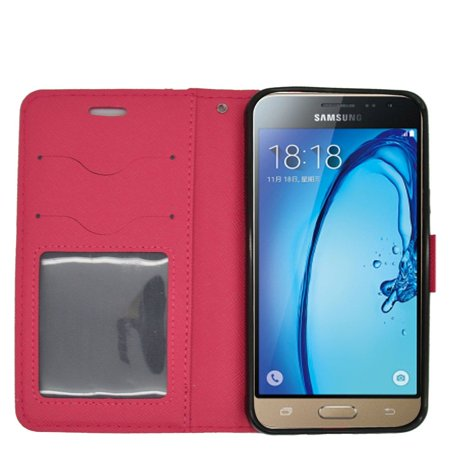 Samsung Galaxy J3 (2016) Case, by Insten Cute Bear Stand Folio Flip Leather [Card Holder Slot] Wallet Pouch Case Cover For Samsung Galaxy J3 (2016), Pink - image 2 of 3
