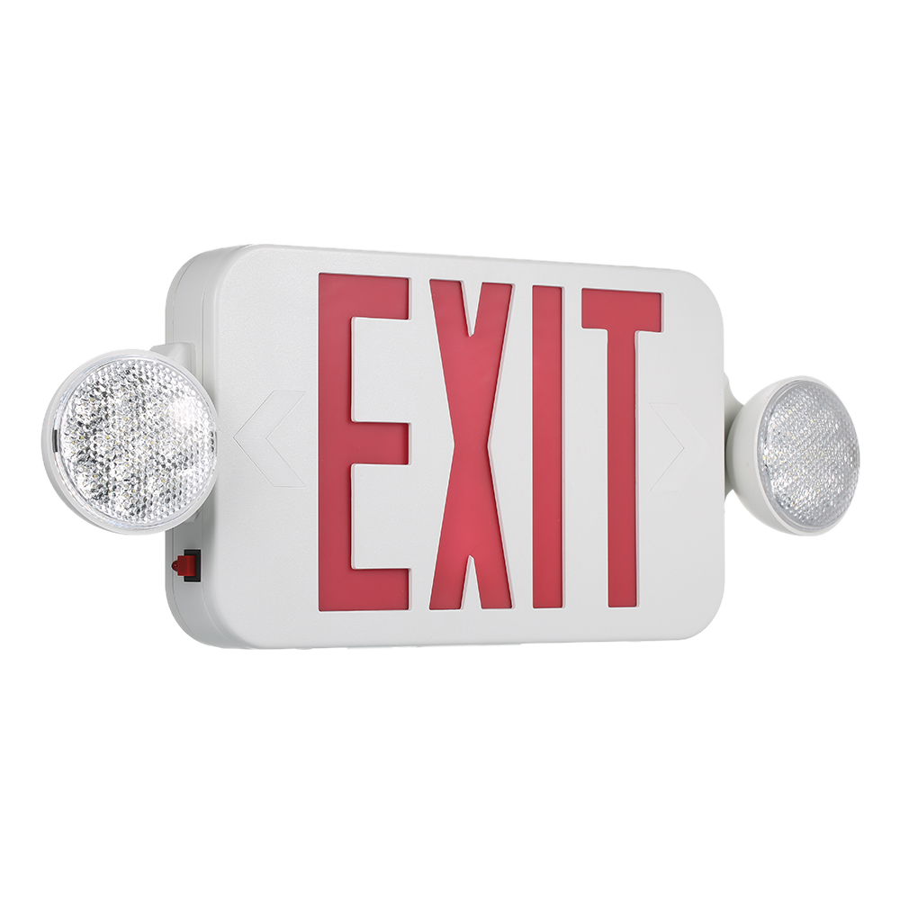 120-277V Double Face LED Combo Emergency Light with Adjustable Two Head and Backup Battery Red Exit Sign 2 Pack