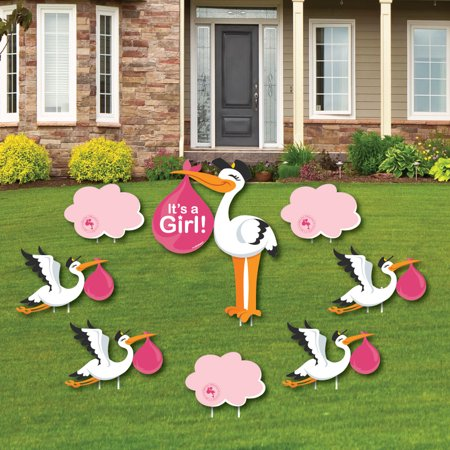 Girl Special Delivery - Baby Announcement Yard Sign & Outdoor Lawn Decorations - Pink Stork Baby Shower Yard Signs-8 Ct (Baby Announcement Yard Sign)