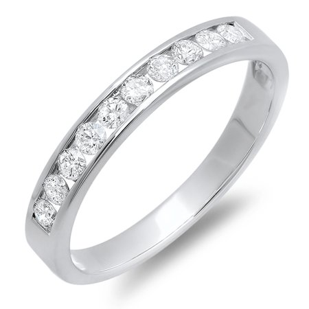 0.40 Carat (ctw) 18k White Gold Round Diamond Ladies Anniversary Wedding Stackable Ring Band
