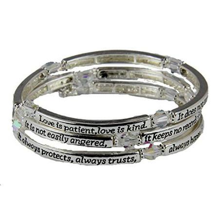- 1st Corinthians 13: 4-7 Love is Patient Coil Wrap Bracelet Christian ...