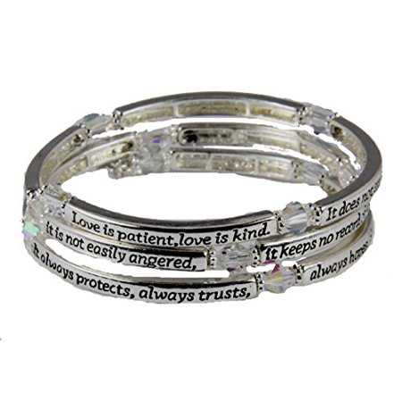 1st Corinthians 13: 4-7 Love is Patient Coil Wrap Bracelet Christian