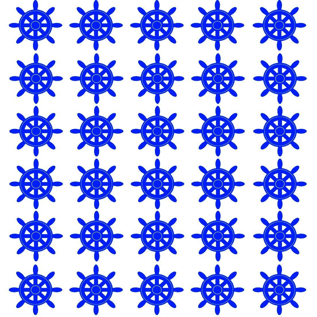 VWAQ Sailor Ship Wheel Wall Sticker - Nautical Wheel Wall Decals - 30 Pack VWAQ (Sky Blue)