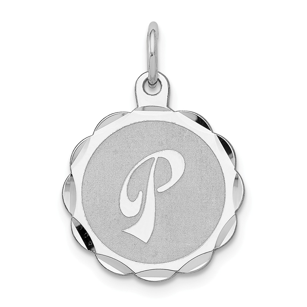 Sterling Silver Engravable Brocaded Initial P Charm (0.9in long x 0.6in wide)