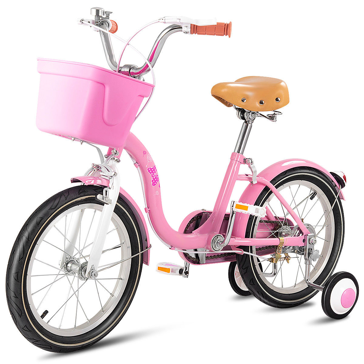 Goplus 16'' Kids Bicycle Bike Outdoor Sports With Training Wheels Basket Bell Pink
