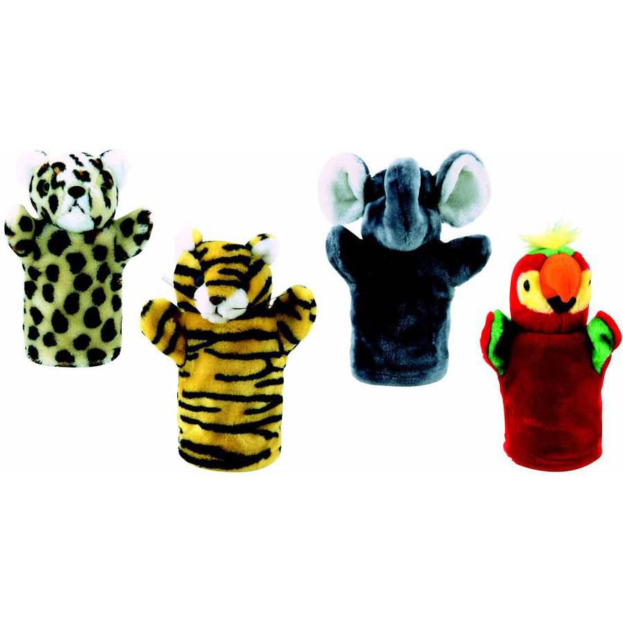Get Ready Kids Elephant, Leopard, Tiger and Parrot Zoo Animal Puppet Set