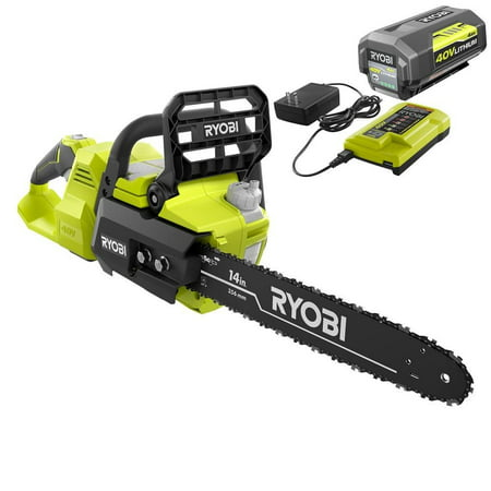 RYOBI RY40530 14 in. 40-Volt Brushless Lithium-Ion Cordless Chainsaw, 4 Ah Battery and Charger Included