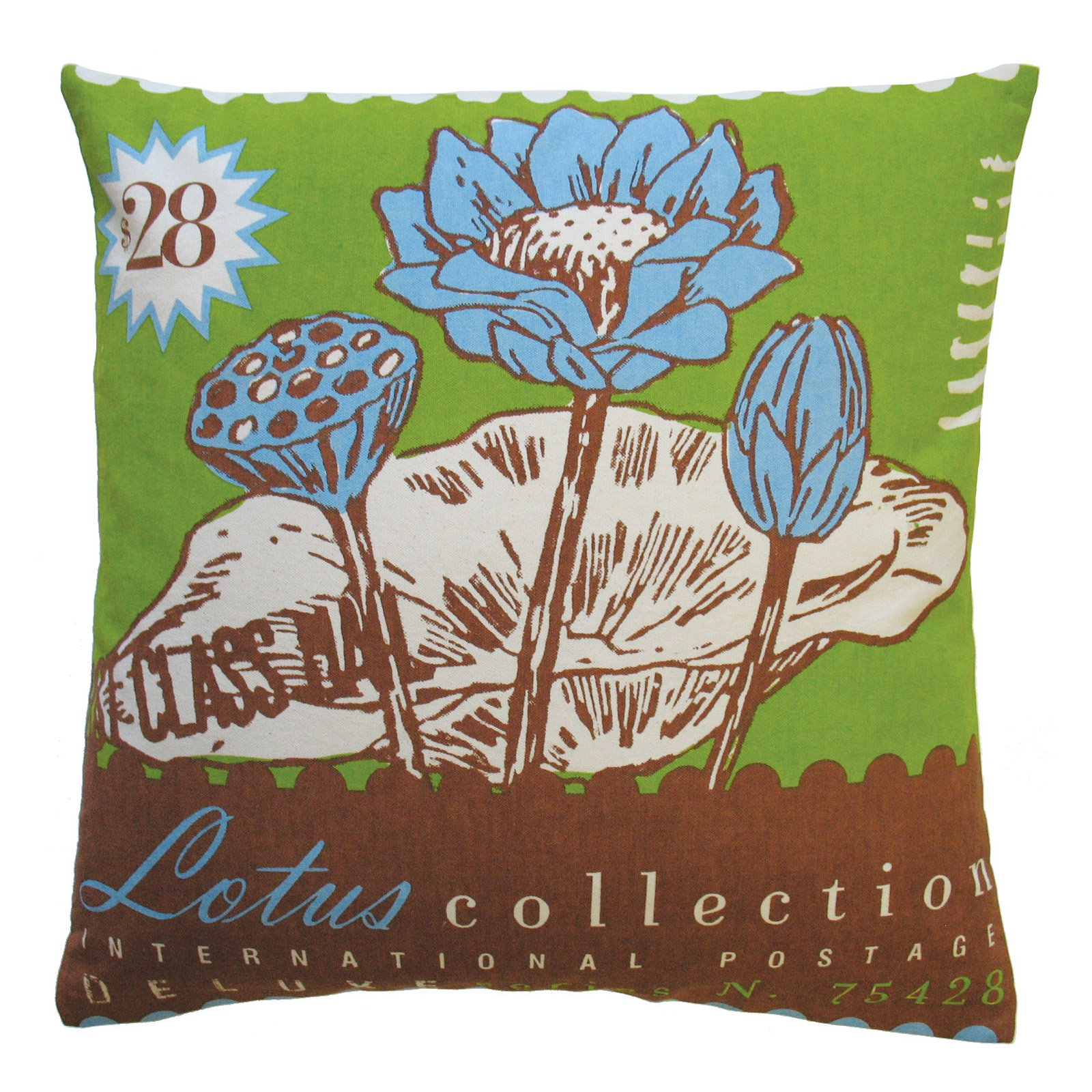 Koko Company Postage Lotus Decorative Pillow