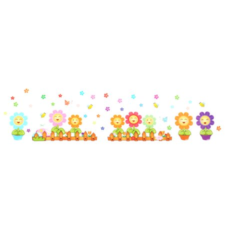 Room Sun Flower Smiling Face Print Wall Sticker Multicolor 70 x 50cm ()