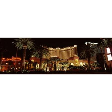 Hotel lit up at night Monte Carlo Resort And Casino The Strip Las Vegas Nevada USA Canvas Art - Panoramic Images (36 x (Monte Carlo Hotel Casino Las Vegas Nevada)