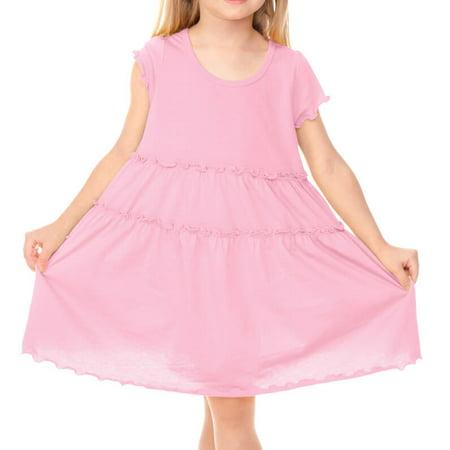 Tiered Baby Dress (Kavio! Little Girls 3-6X Tiered Lettuce Edge Dress Baby Pink 6X )