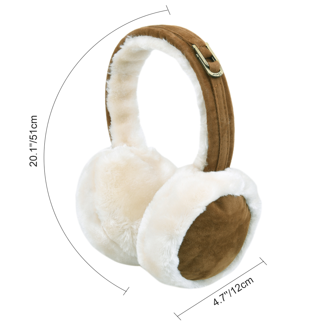 Japanese Culture Red Flower Winter Earmuffs Ear Warmers Faux Fur Foldable Plush Outdoor Gift