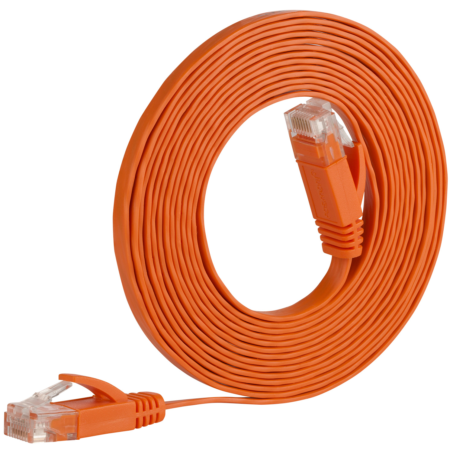 Fosmon 10FT Cat5e RJ45 FLAT Snaglass Network Ethernet Patch Cable for PC Printer Router Switch Boxes PS3/4 Xbox (Orange)